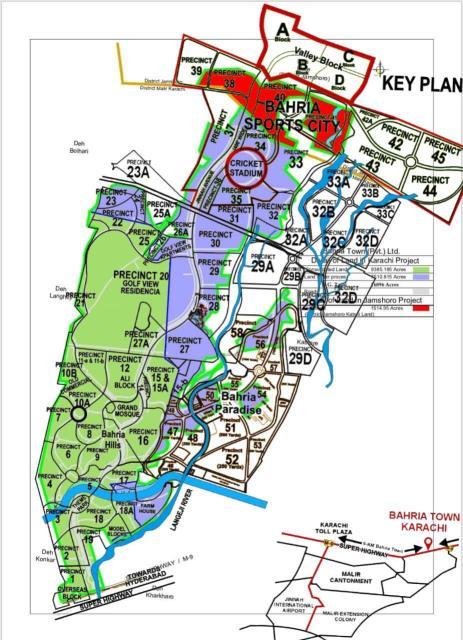Bahria Town Karachi Precincts Map