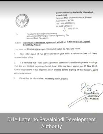 DHA Letter to RDA for Merger of Capital Smart City
