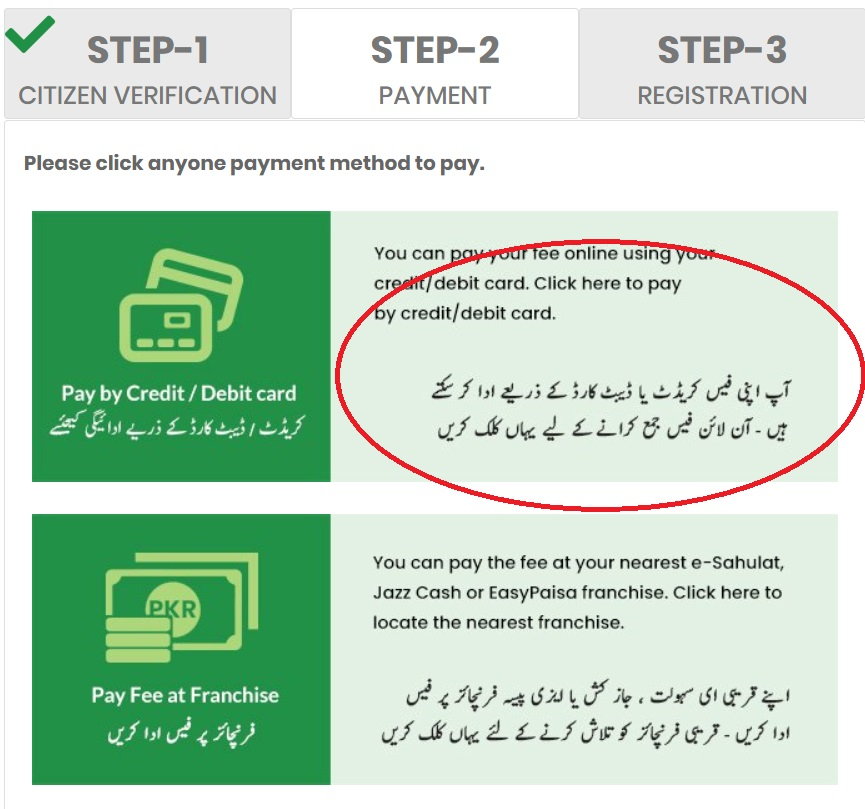 Online Registration Page 2 Payment