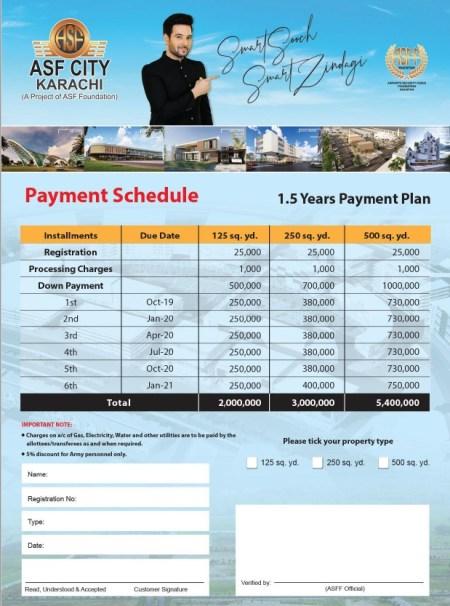 ASF City Karachi Payment Plan 1.5 Years