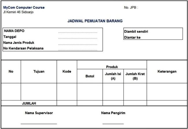 akuntansi perusahaan dagang - form Jadwal Pemuatan barang