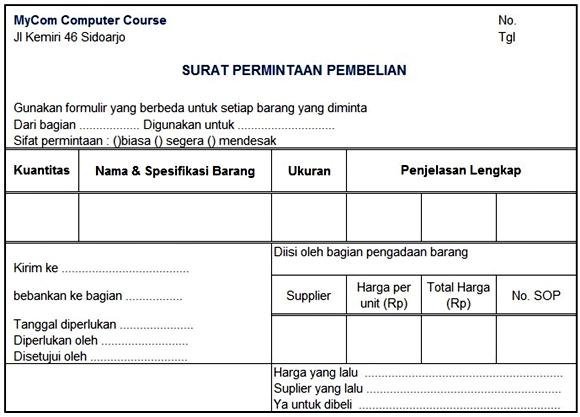 Contoh Surat permintaan pembelian