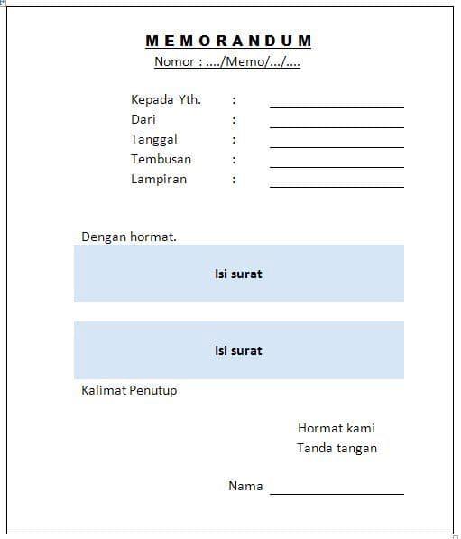 Contoh Surat Dinas Memorandum Suratmenyuratnet