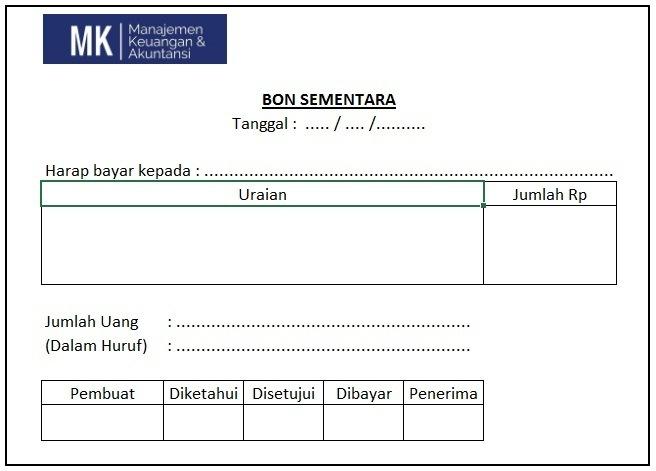 contoh form bon sementara