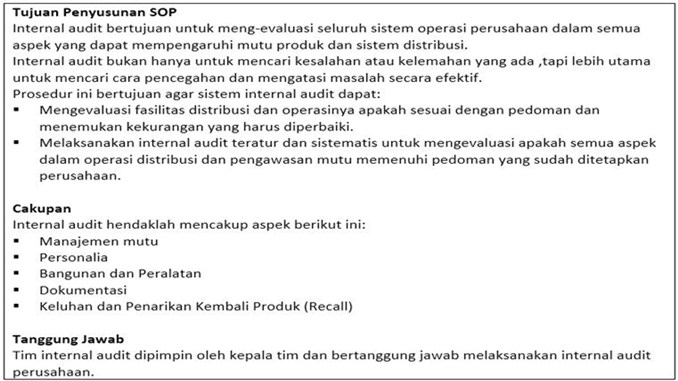 contoh bagian isi sop internal audit