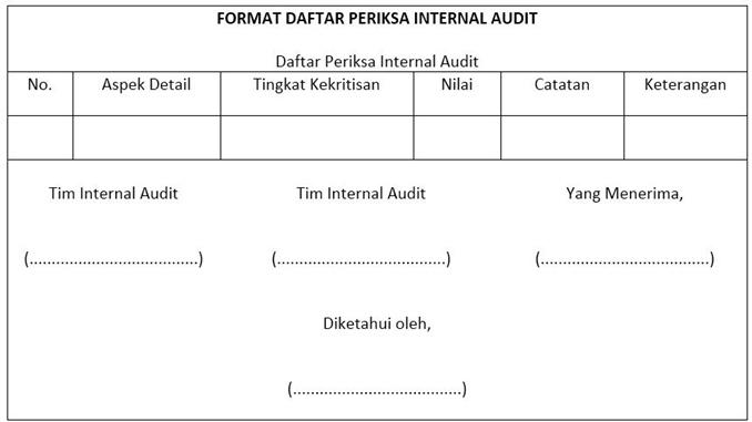 contoh form daftar periksa internal audit