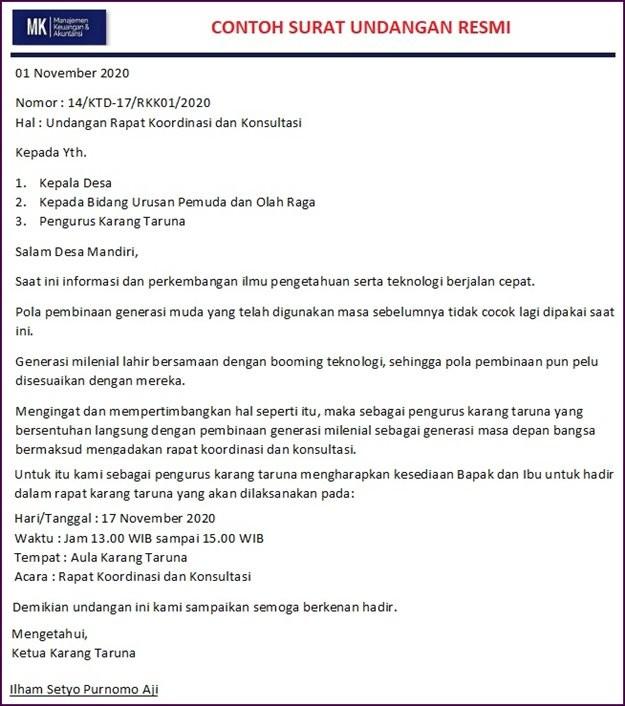 surat undangan rapat karang taruna