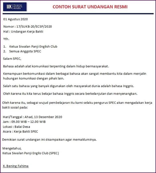 surat resmi dalam bahasa indonesia
