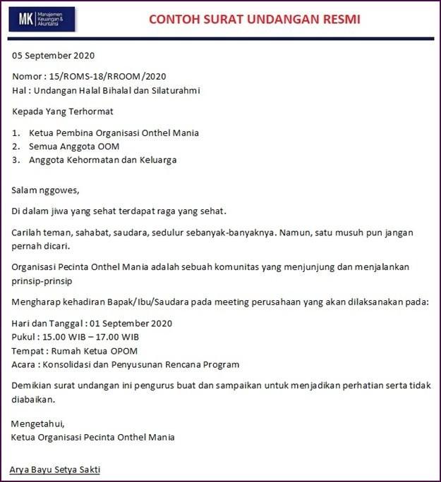 Surat Undangan Rapat Resmi Organisasi