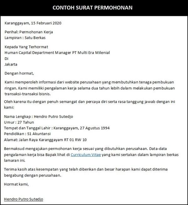 surat permohonan kerja