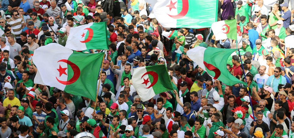 Masses protest in Algeria.