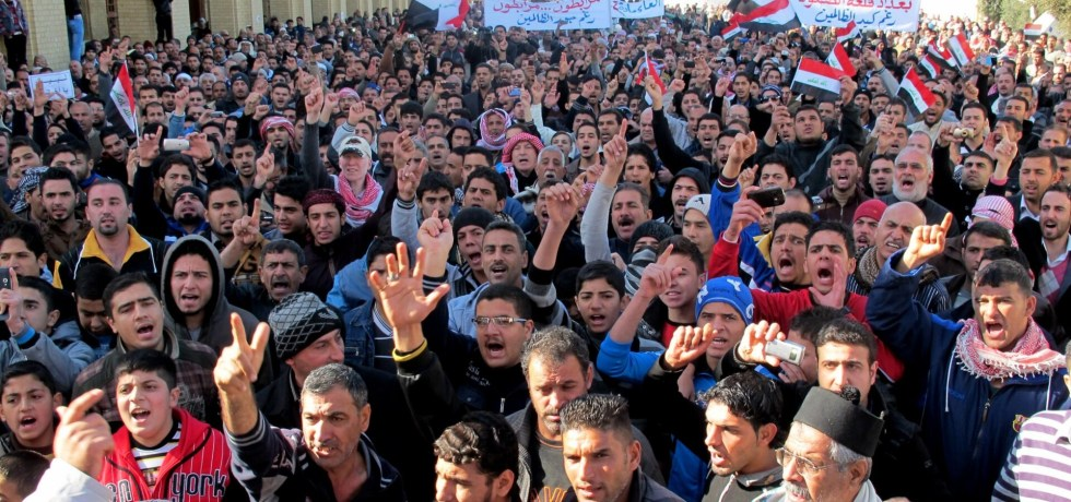 People protesting outside Sunni mosque in Iraq