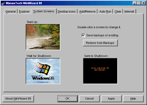 WinWizard a SystemTweaker Program for Windows 98  Manas Tungare
