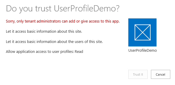 Sorry, only tenant administrators can add or give access to this app (2/2)