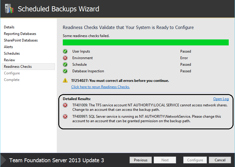 Error during configuration of Scheduled Backups for Team Foundation