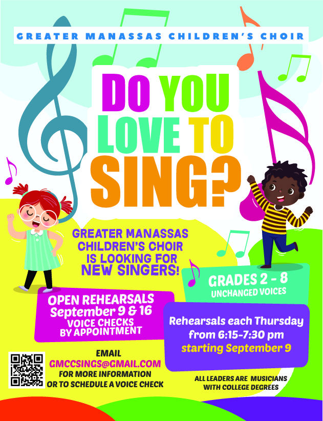 Greater Manassas Children's Choir is looking for new singers!