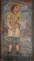 Sf. Hristofor cu cap de caine - fragment pictura bisericutei de lemn