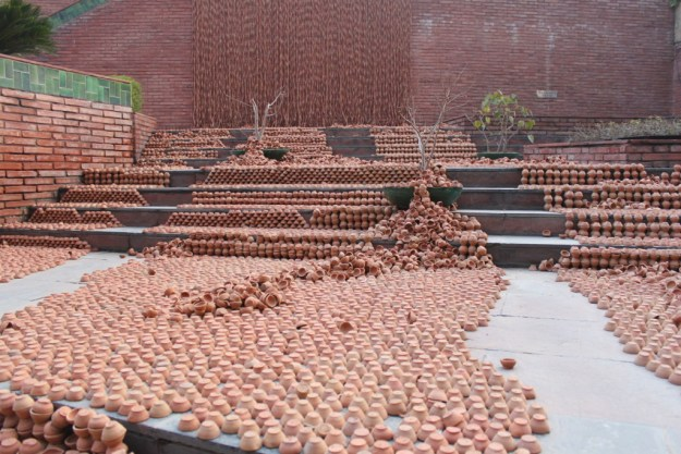 Manav Gupta Public Art Installations Excavations in hymns of clay waterfront India Habitat Centre 1