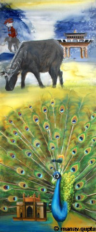 The Flora and Fauna, Bhutan India Friendship Mega Mural, Manav Gupta