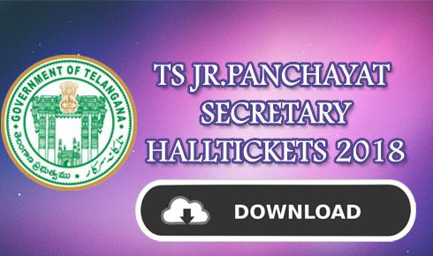 TS JR.PANCHAYAT SECRETARY HALLTICKETS 2018
