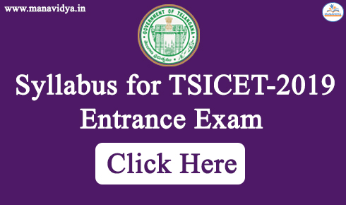 Syllabus for TSICET-2019 Entrance Exam