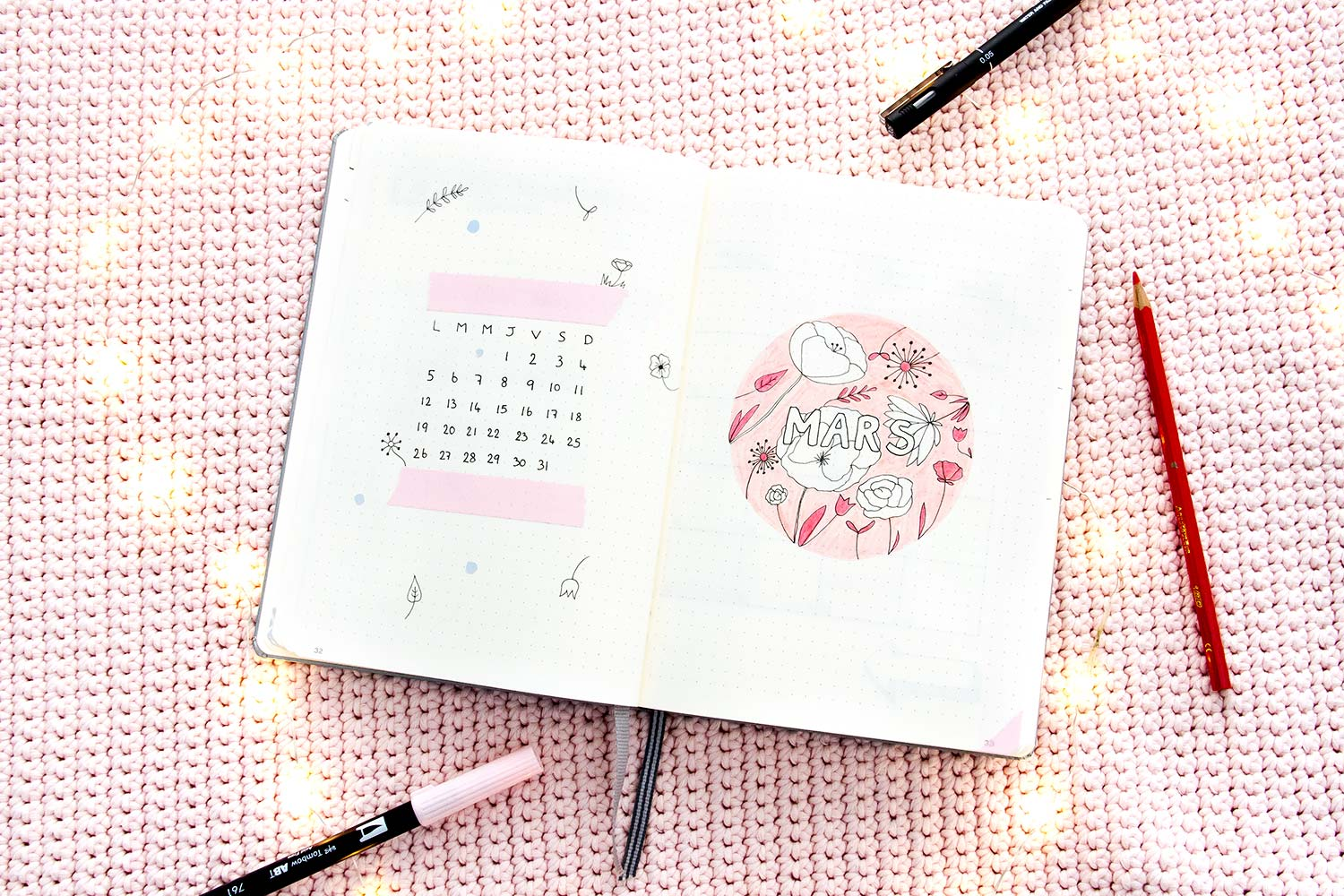 Bullet journal Mars - mise en page
