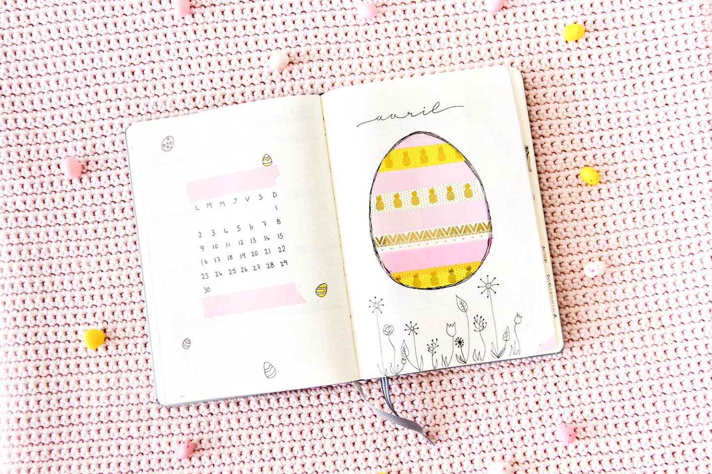 Bullet journal Avril - mise en page