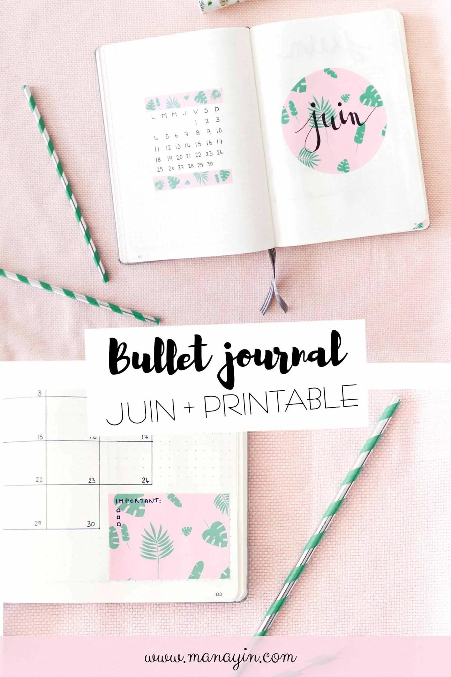 Bullet journal Juin printable