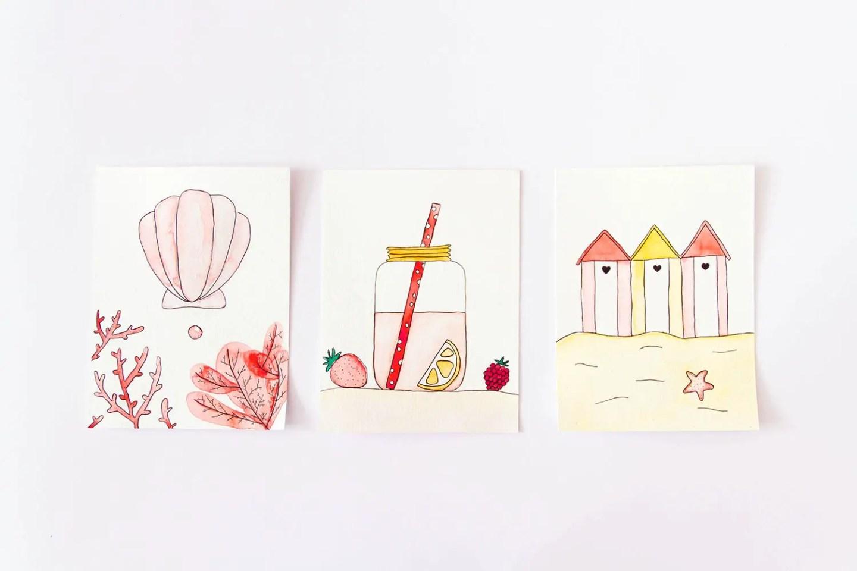 Freebies été : 3 cartes à l'aquarelle à imprimer