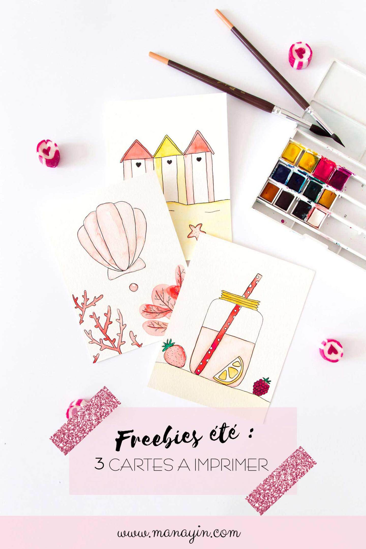 Freebies été : 3 cartes à l'aquarelle à imprimer