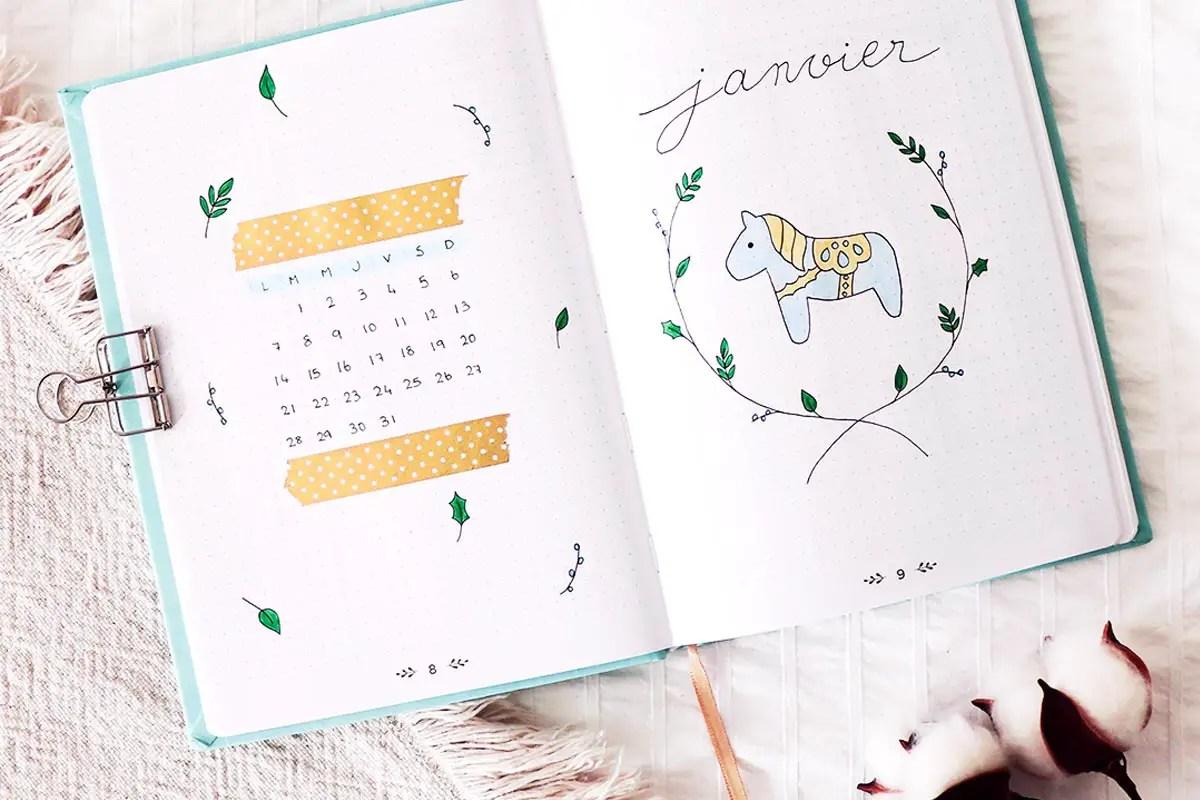 Bullet journal Janvier 2019 : Idées de mise en page