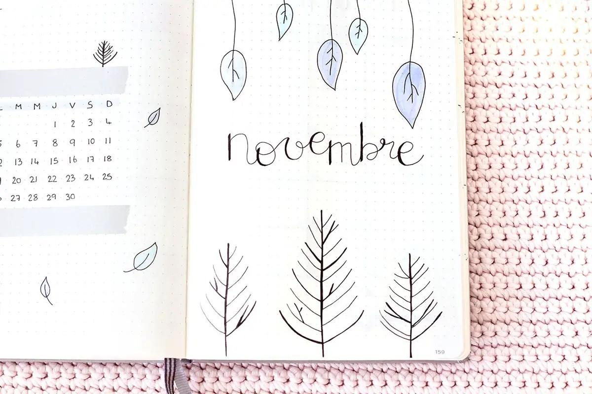 Bullet Journal Novembre : Idée de mise en page