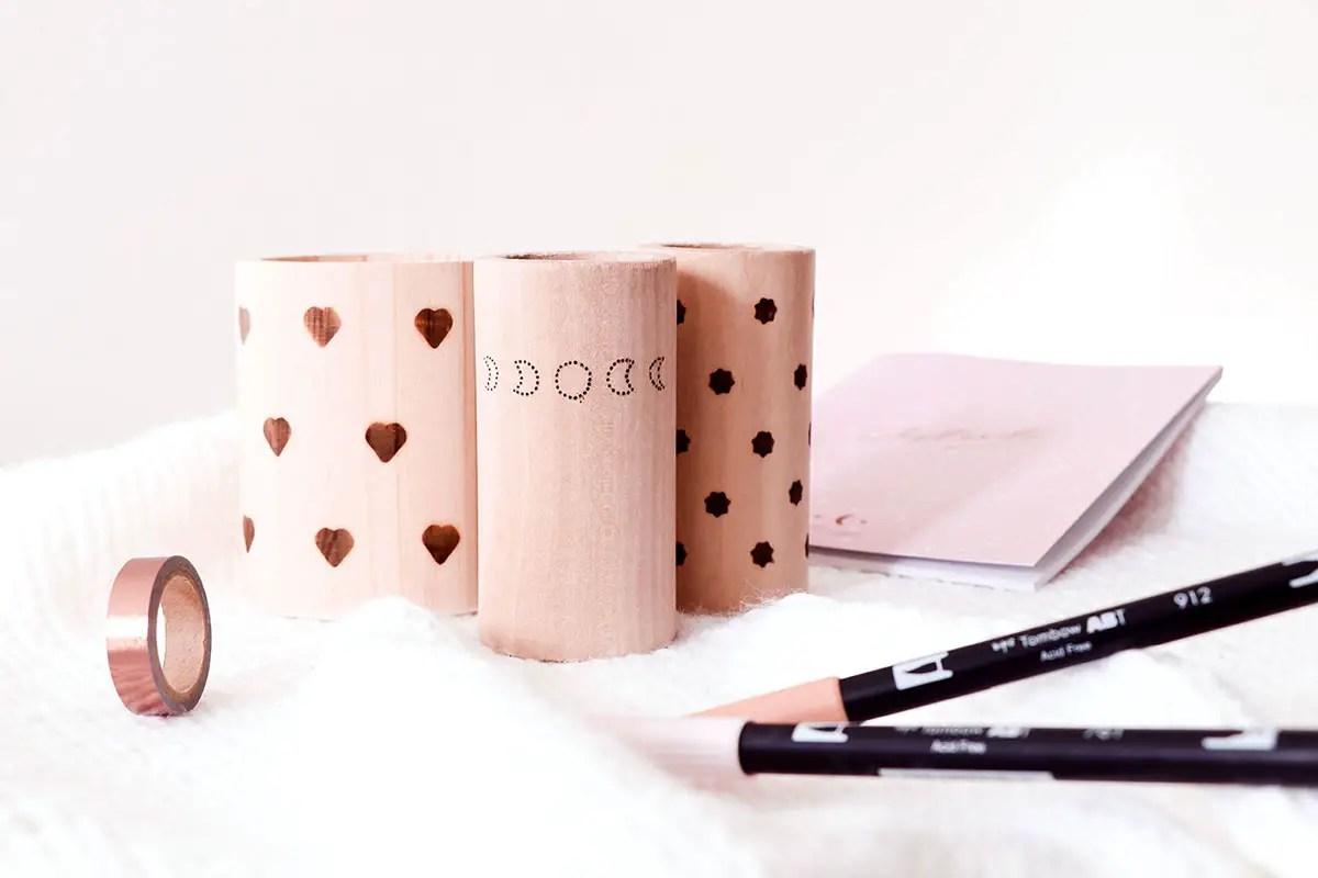 DIY déco : des pots à crayons pyrogravés