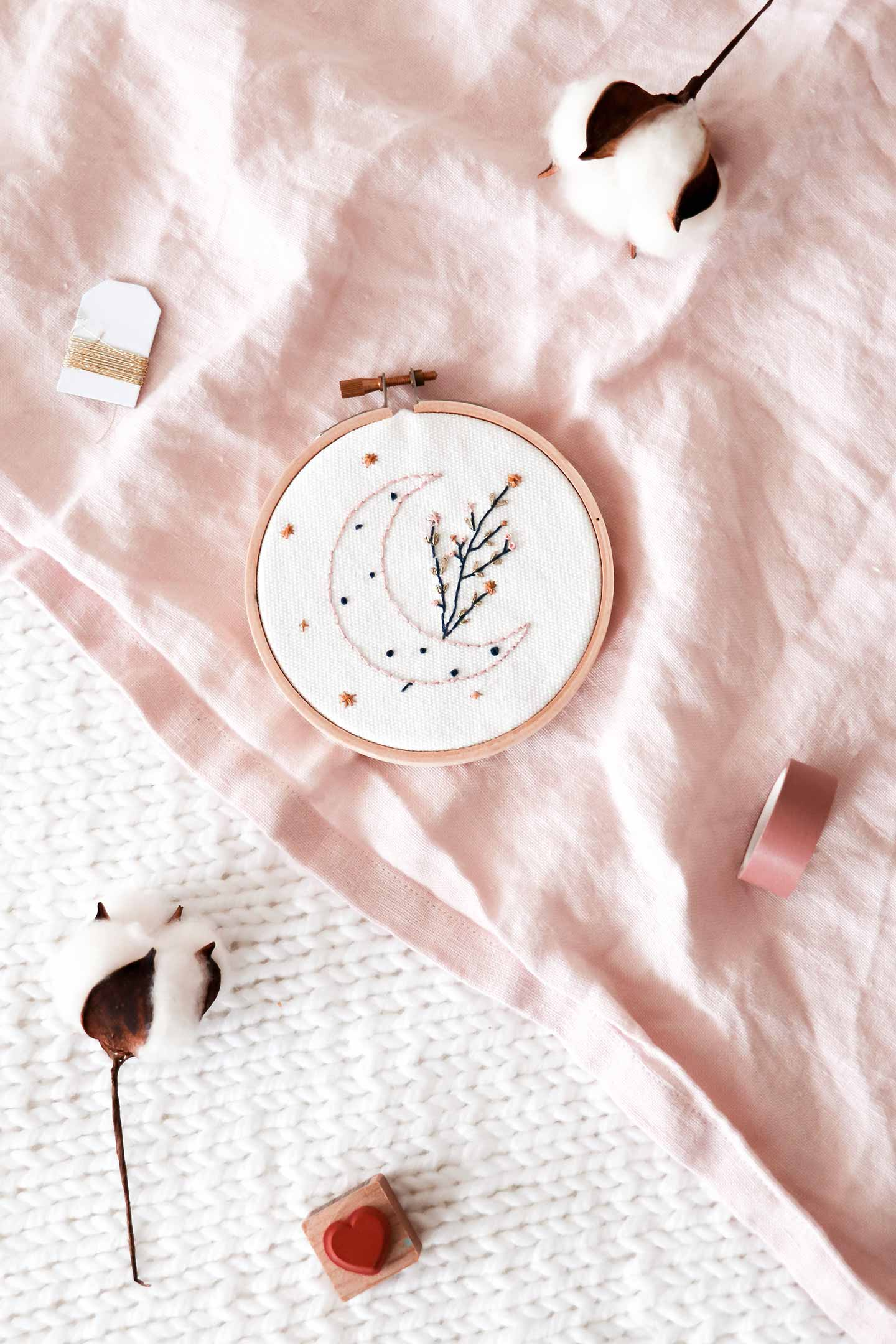 Kit broderie Rose Céladon