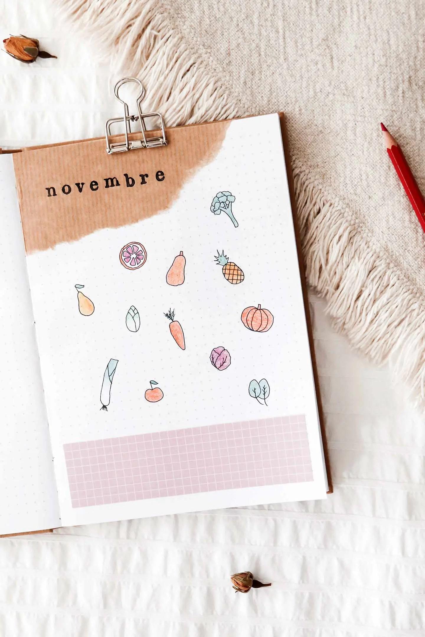 Bullet journal fruits et légumes de saison