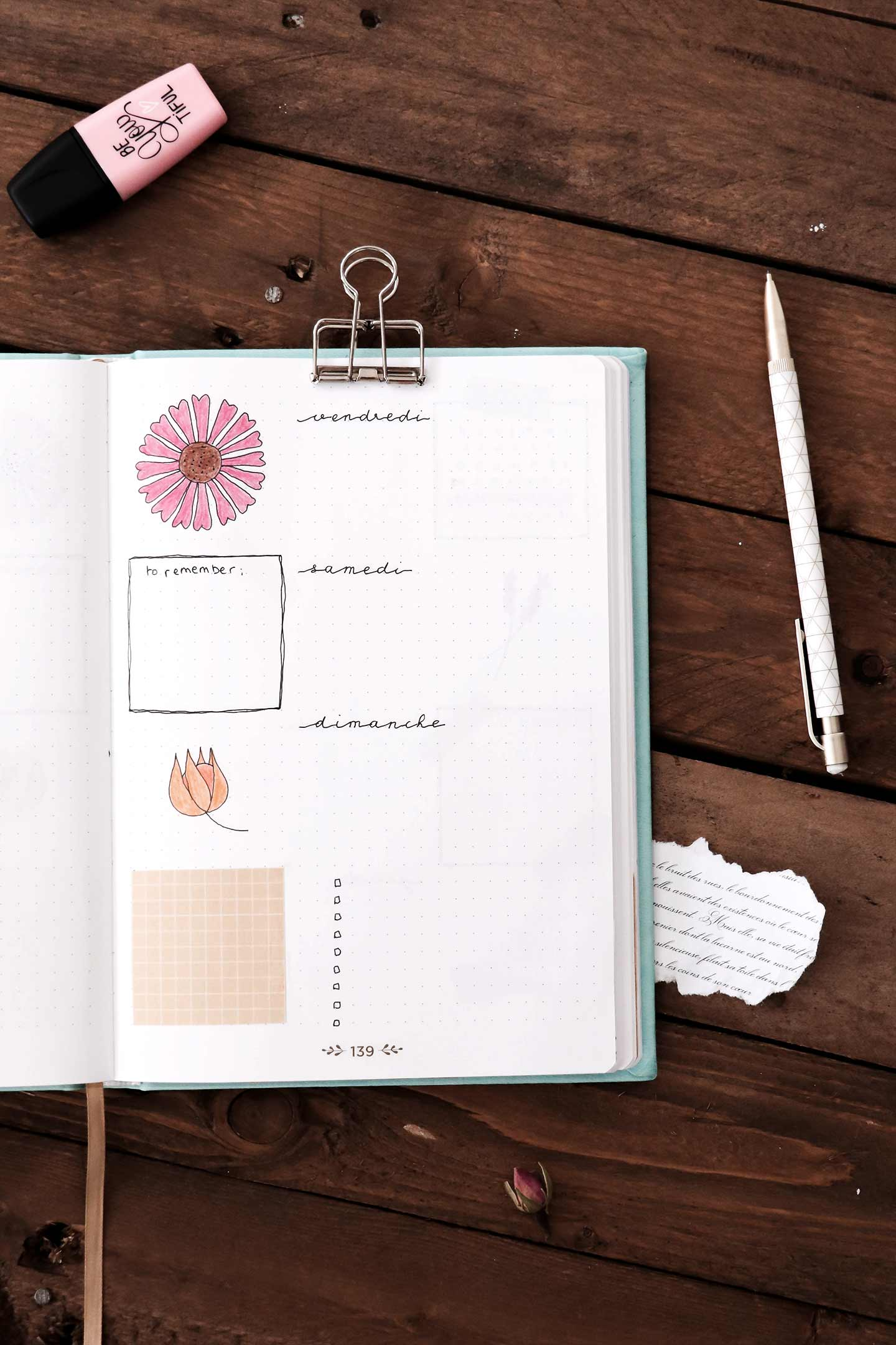 Bullet journal octobre - page semaine