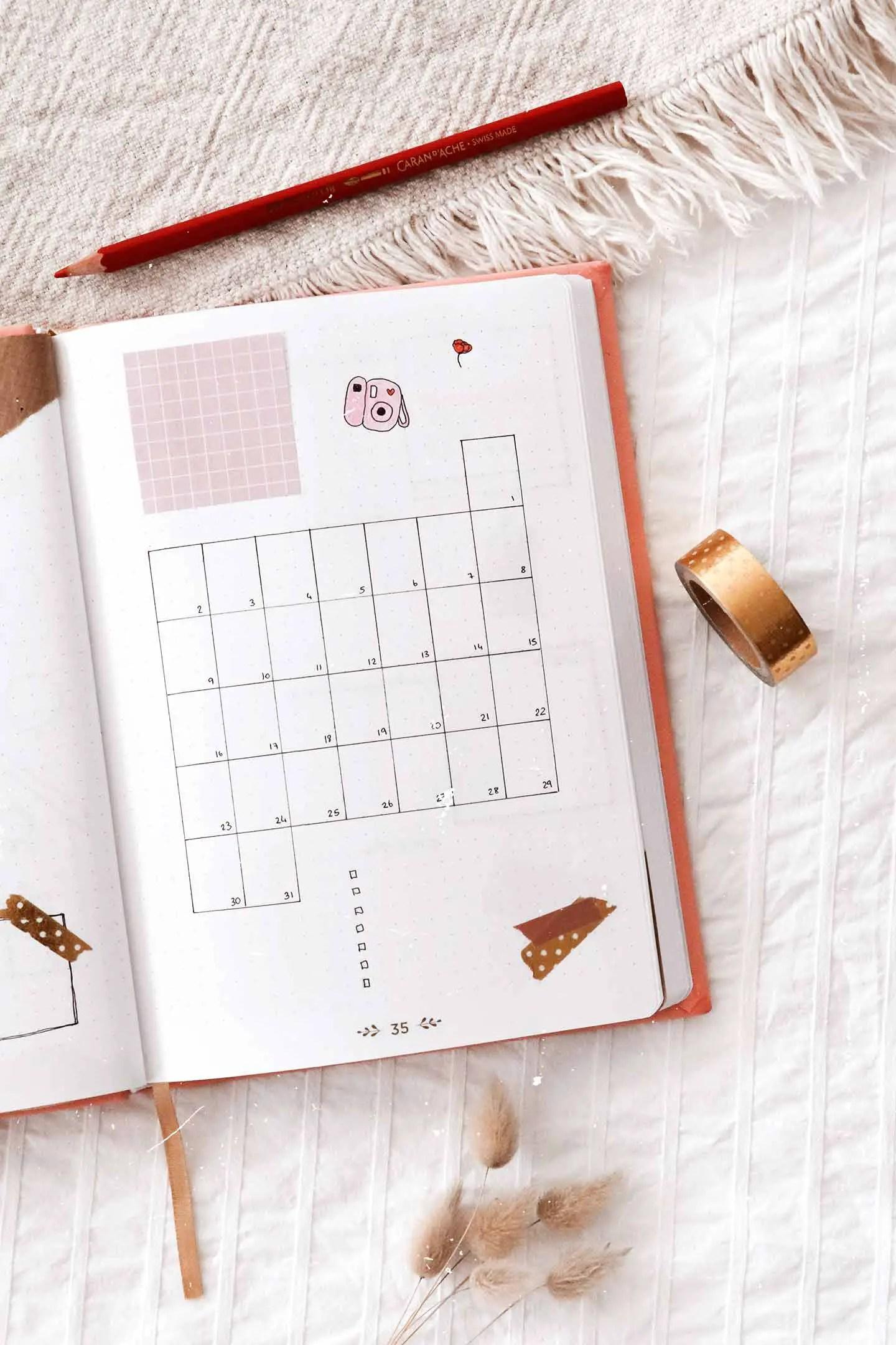 Monthly log Mars bullet journal