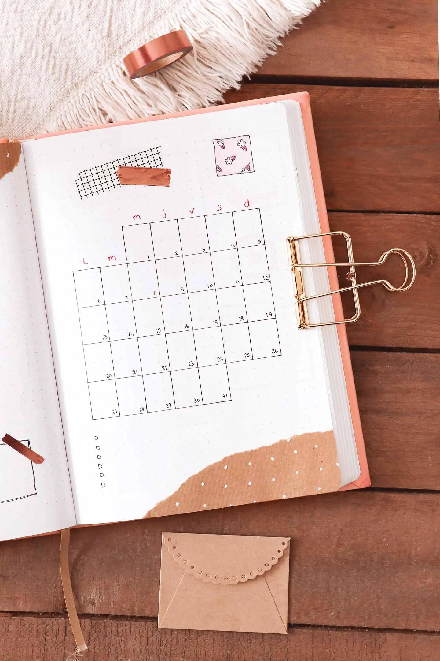 Monthly log bullet journal juillet