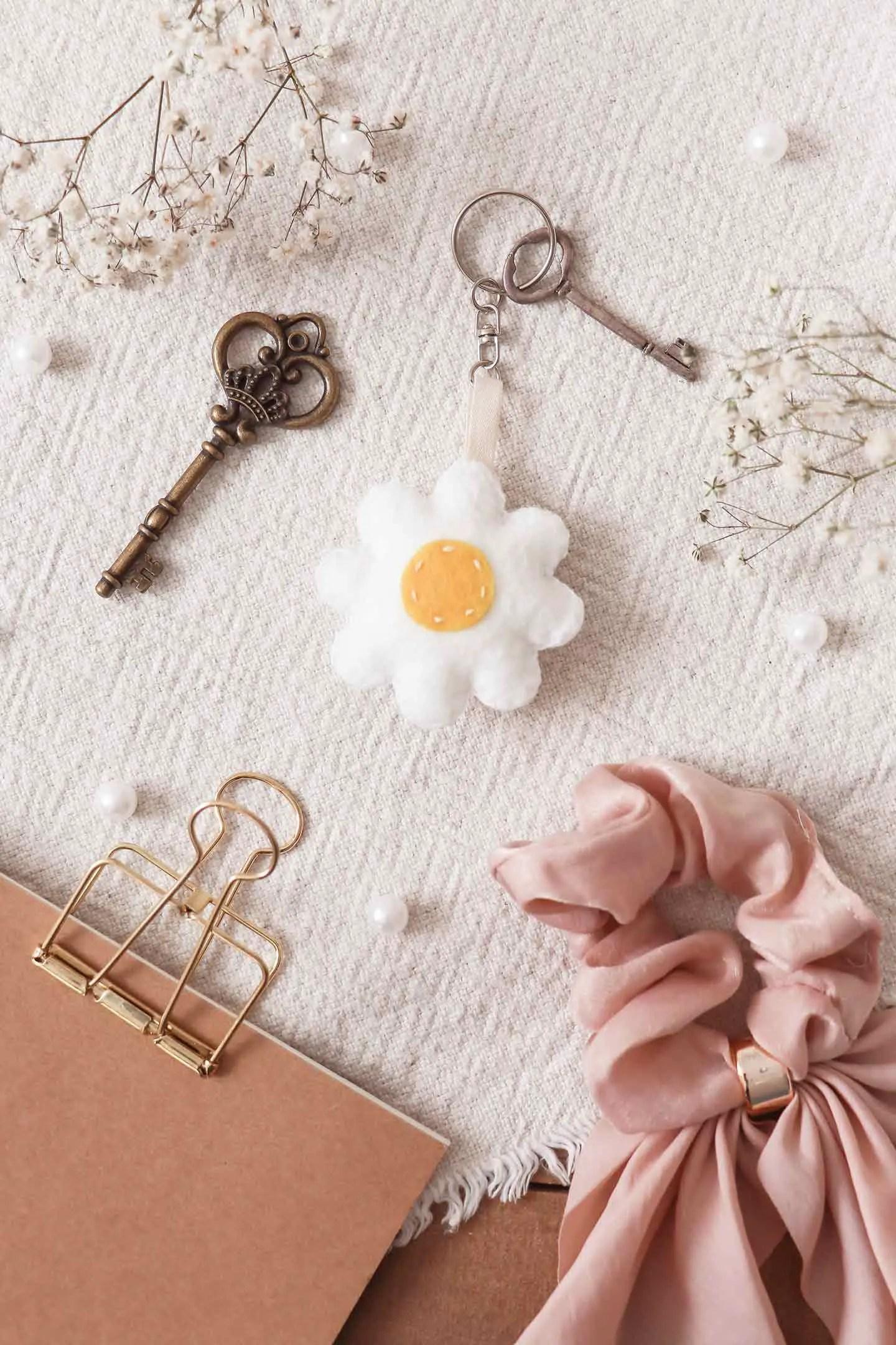 Porte-clé fait-main fleur