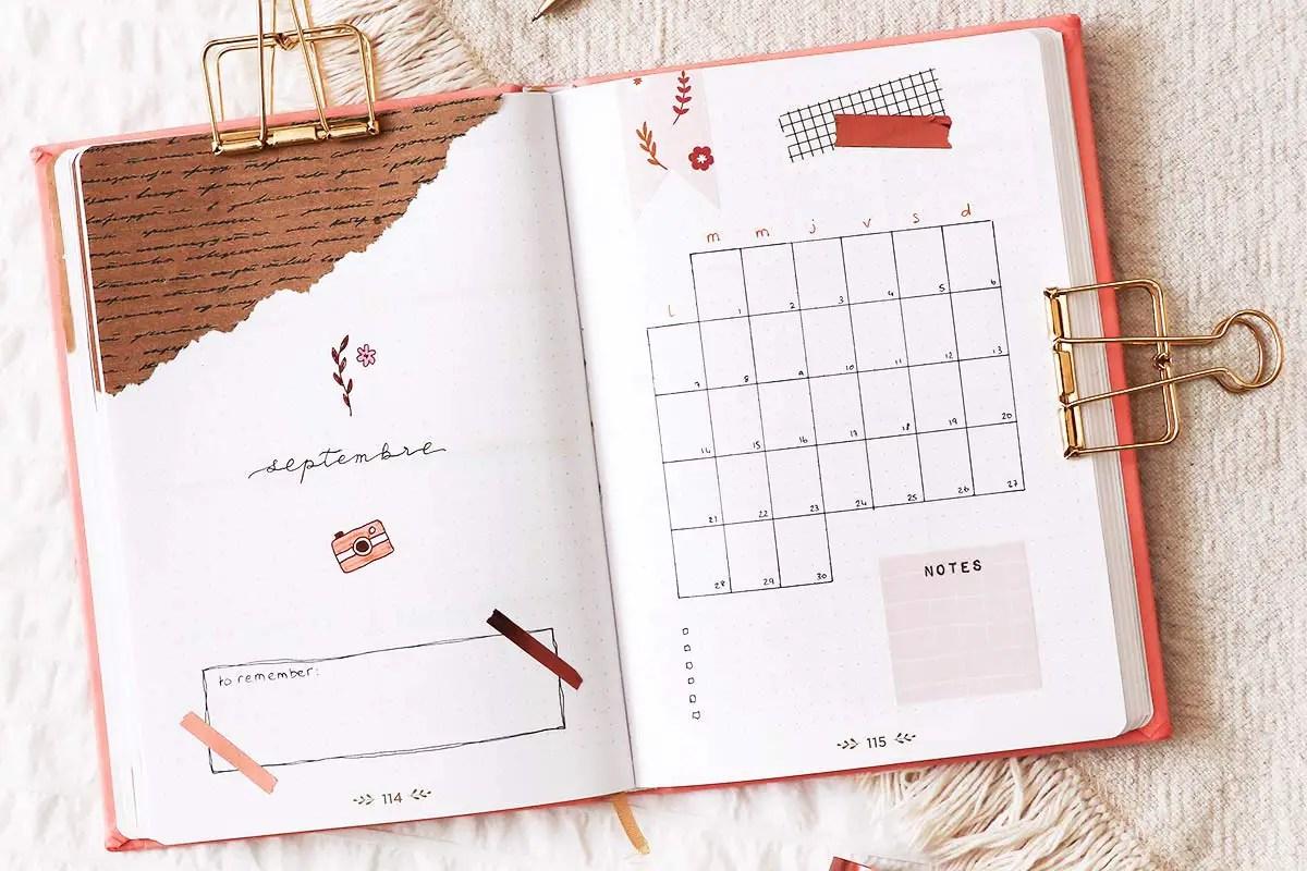 Bullet journal septembre : mes idées de mises en page
