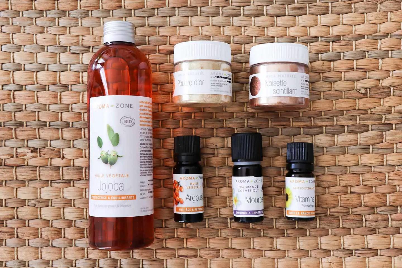 Ingrédients huile pailletée
