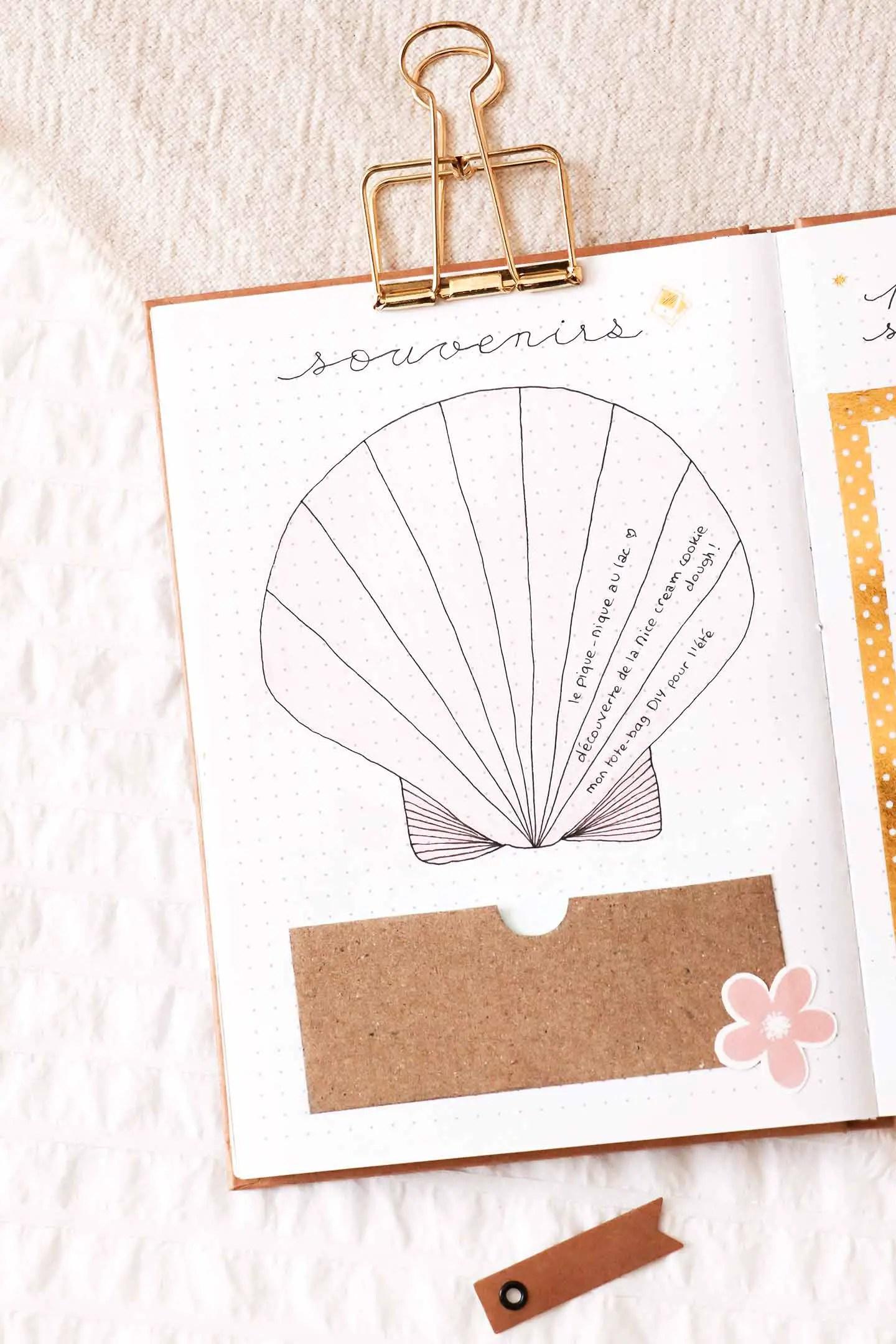 Page souvenirs bullet journal