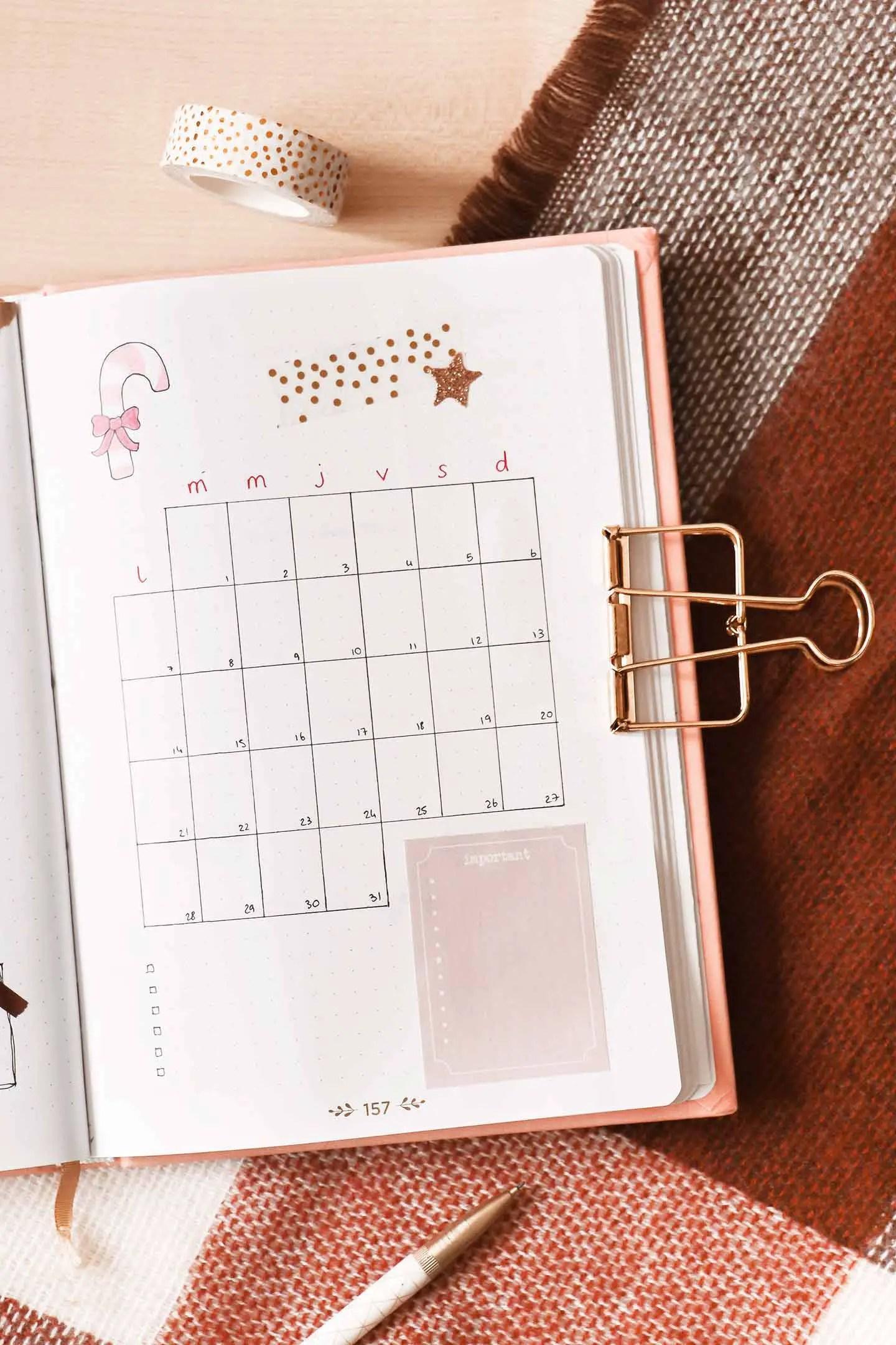 Monthly log bullet journal décembre