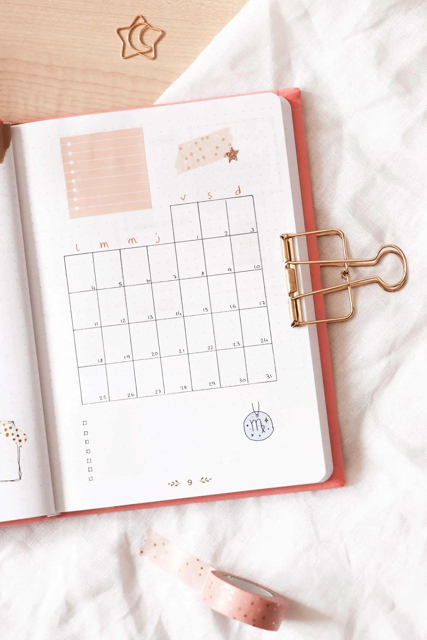 Monthly log bullet journal janvier