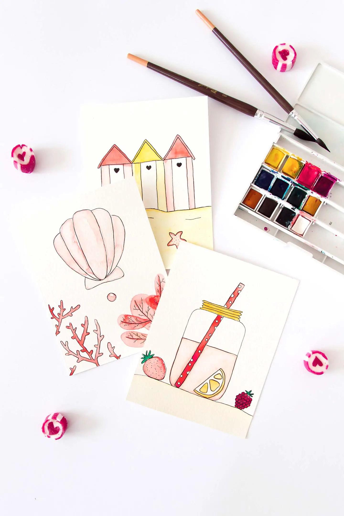 Cartes postales aquarelle
