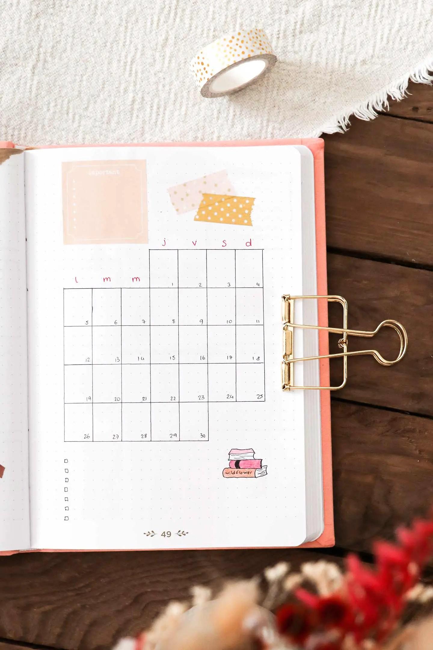 Monthly log avril bullet journal