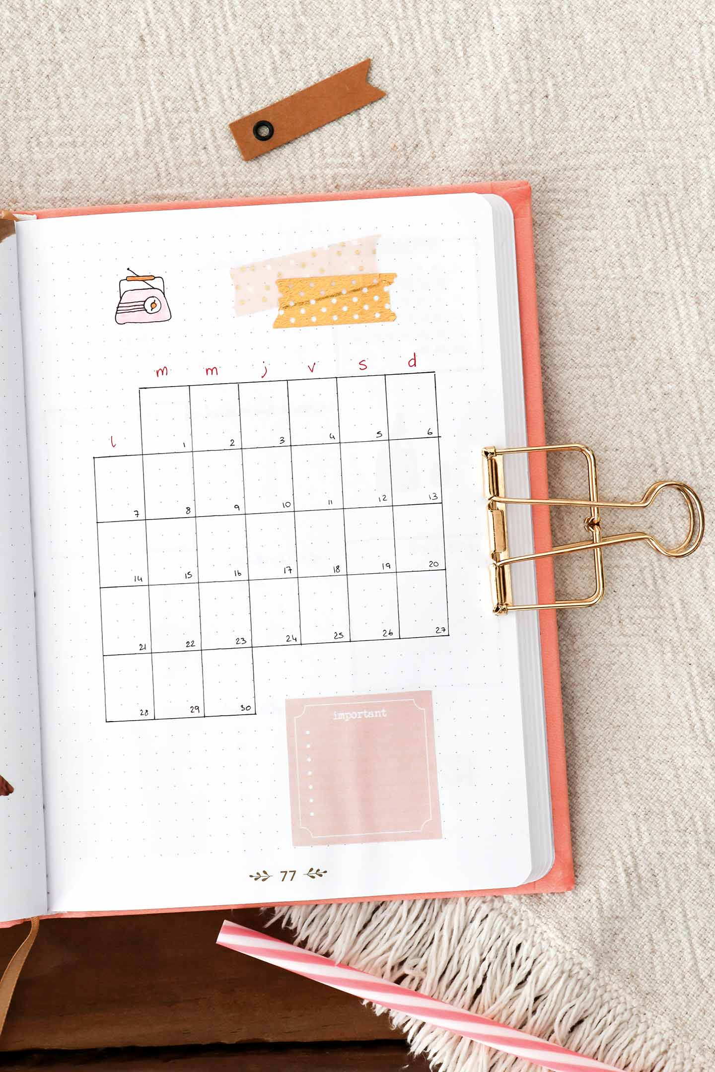 Monthly log bujo juin