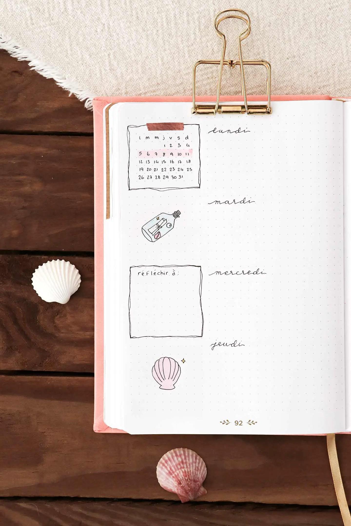 Planning semaine juillet