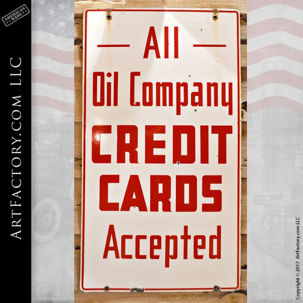 oil company credit cards sign