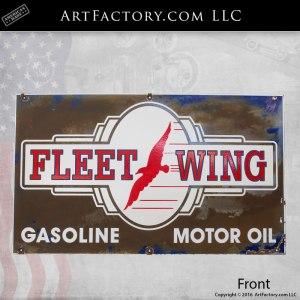 Fleet Wing Gasoline Porcelain Vintage Sign
